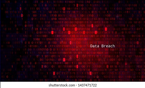 Red BG with Binary Code Numbers. Data Breach
