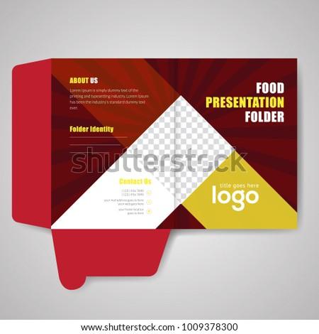 red bi fold presentation folder vector stock vector royalty free