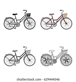 A red bicycle with wheels and basket. The eco-friendly transport.Different Bicycle single icon in cartoon style vector symbol stock illustration.
