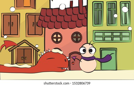 A red and big dinosaur sleeping in a city.There is a snow man near it.