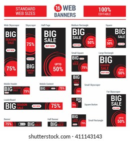 Red Big Sale. Standard size web banners set. Vector Web Banners