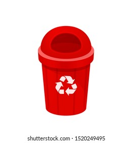 red bin isolated on white background, clip art of recycle bin small, illustration red bin plastic, flat icon bin waste, red trash can, dustbin for garbage with recycle symbol