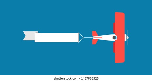 Red biplane with air ribbon banner vector illustration. Advertisement sky aviation vintage plane travel. Old vehicle adventure show journey. Flat airshow flag text sign