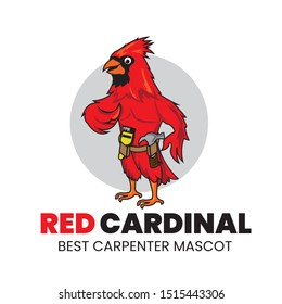 Red Bird Cardinal Logo, good for Carpenter logo also Mascot Logo