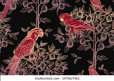 Red birds parrots and golden citrus trees on a black background. Luxury seamless pattern. Vector illustration art. Vintage drawing. For textiles, wrapping paper, wallpaper, curtains, interior design.
