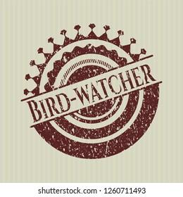 Red Bird-watcher rubber grunge seal