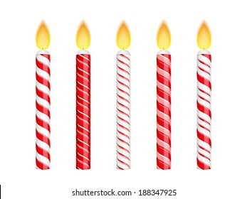 Red birthday candles isolated on white background, vector eps10 illustration