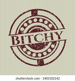 Red Bitchy distressed rubber grunge stamp