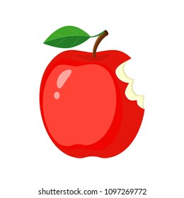 Red bitten apple. Vector illustration isolated on white background.