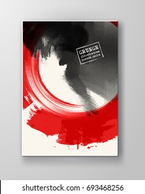 Red and black abstract background with ink splats. Japanese style composition. Aggressive futuristic dynamic background for wallpaper, interior, flyer cover, poster, banner, booklet.