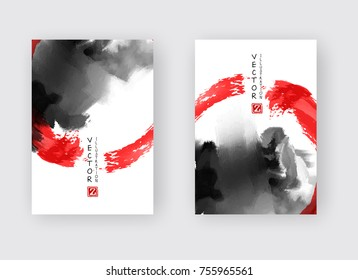 Red and black abstract backgrounds set with ink splats. Japanese style composition. Aggressive futuristic dynamic background for wallpaper, interior, flyer cover, poster, banner, booklet.