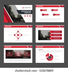 Red black Abstract presentation templates, Infographic elements flat design set for annual report brochure flyer leaflet marketing advertising banner