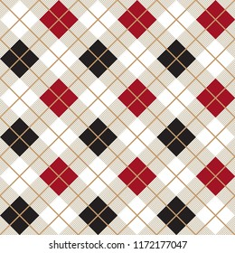 Red and Black Argyle Diagonal Decorative Harlequin Pattern