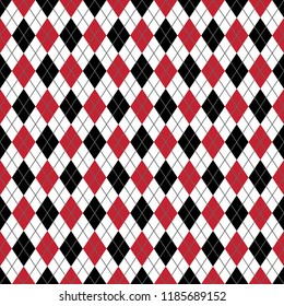 Red and Black Argyle Seamless Pattern - Red, white, and black argyle design