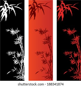 Red and black asian bamboo banners