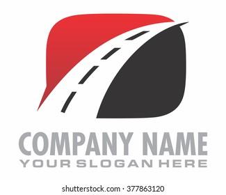 red black asphalt road highway logo vector