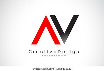 Red and Black AV Letter Logo Design in Black Colors. Creative Modern Letters Vector Icon Logo Illustration.