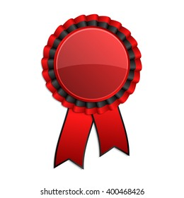 Red and black award rosette with ribbon