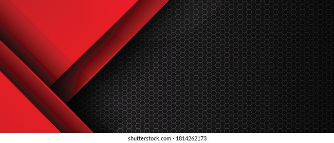 Red and black background overlap dimension grey vector illustration message board for text and message design modern website. Can be used for modern keynote presentation background, brochure design