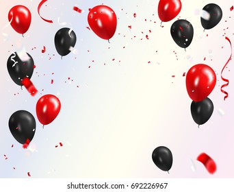 Red black balloons, confetti concept design Happy greeting background. Celebration Vector illustration.