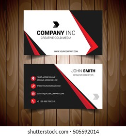 Red And Black Bordered Business Card