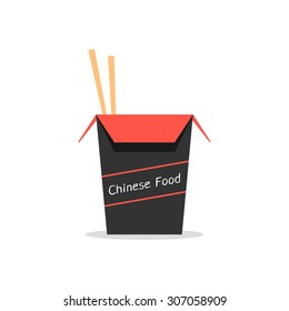 red and black box with chinese food. concept of packaging, japanese food, foodbox, traditional cooking, kitchen. isolated on white background. flat style trend modern logo design vector illustration