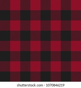 Red and Black Buffalo Check Plaid Seamless Pattern