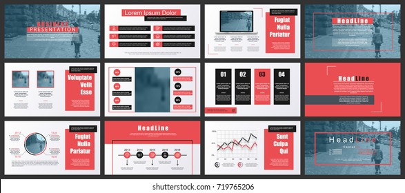 Red and black business presentation slides templates from infographic elements. Can be used for presentation, flyer and leaflet, brochure, marketing, advertising, annual report, banner, booklet.
