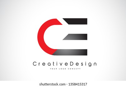 Red and Black CE C E Letter Logo Design in Black Colors. Creative Modern Letters Vector Icon Logo Illustration.