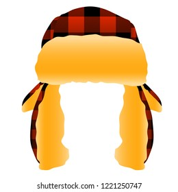 Red and Black Checkered Plaid Flannel Trapper Cap Hat Vector Illustration Icon Graphic