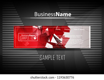 Red and black contrast abstract technology background. Vector corporate design. Abstract tech corporate red contrast background. Vector geometric illustration for flyers, brochures, web graphic design