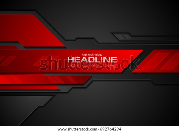 Red and black contrast abstract technology background. Vector corporate design