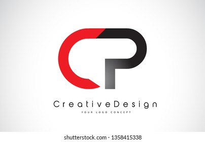 Red and Black CP C P Letter Logo Design in Black Colors. Creative Modern Letters Vector Icon Logo Illustration.