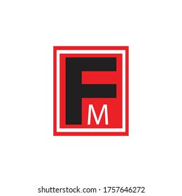 red black design logo font fm
