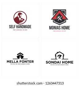 Red black diy man wood crafting working hammer brush house improvement silhouette roller paint logo design concept vector suitable for home repair improvement builder real estate A initial self workin