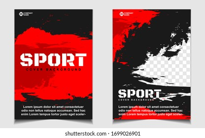 Red and black dynamic shapes colors cover a4 template background. Vector layout design with sport style can use for gym promotion, poster tournament, invitation cup event, banner championship.