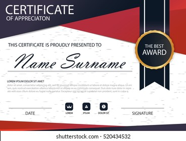 Red black Elegance vertical certificate with Vector illustration ,white frame certificate template with clean and modern pattern presentation