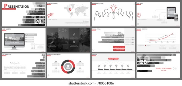 Red, black, elements of presentation templates, white background. Slide set.2018. Regional infographic. Business presentations, corporate reports, marketing, advertising, annual report, booklets,fon