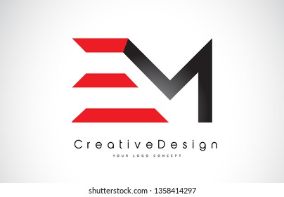 Red and Black EM E M Letter Logo Design in Black Colors. Creative Modern Letters Vector Icon Logo Illustration.