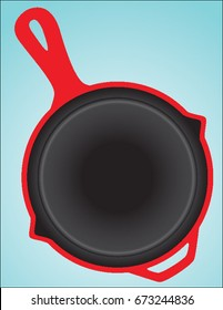 Red and Black Enameled Cast Iron Skillet Kichenware Pots and Pans With Spouts and Handles Cooking Vector