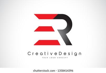 Red and Black ER E R Letter Logo Design in Black Colors. Creative Modern Letters Vector Icon Logo Illustration.