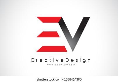 Red and Black EV E V Letter Logo Design in Black Colors. Creative Modern Letters Vector Icon Logo Illustration.