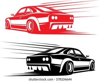 red and black fast sport car silhouettes isolated on white. simple design. great to use as a sticker on your car body. ready for vinyl films cutting. vector illustration