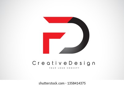 Red and Black FD F D Letter Logo Design in Black Colors. Creative Modern Letters Vector Icon Logo Illustration.