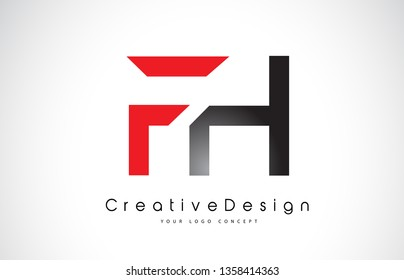 Red and Black FH F H Letter Logo Design in Black Colors. Creative Modern Letters Vector Icon Logo Illustration.