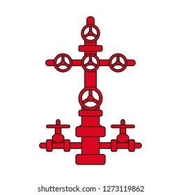 Red and black flat vector icon isolated for oil and gas industry; wellhead sign for petroleum industry