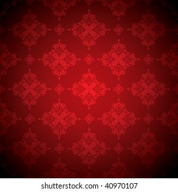 red and black floral seamless repeat pattern with dark edge