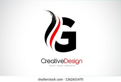 Lettre G rouge et noire Conception Brush Paint Stroke. Logo de lettres avec un pinceau noir.