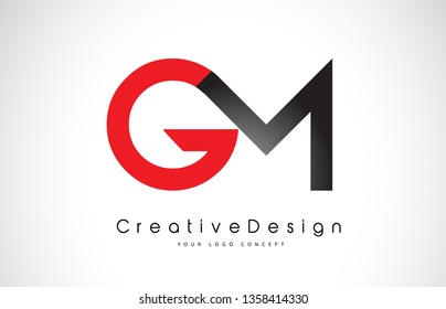 Red and Black GM G M Letter Logo Design in Black Colors. Creative Modern Letters Vector Icon Logo Illustration.