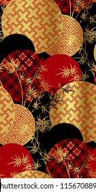 red black gold bamboo plant japanese chinese vector design pattern